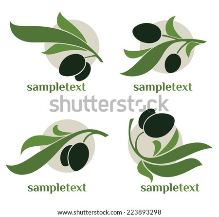 green olives, vector collection of signs, symbols and icons - stock vector
