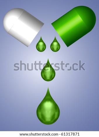 Green Open Capsule with Liquid Drops - stock vector