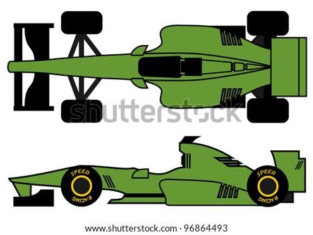 Green open wheel car - stock vector