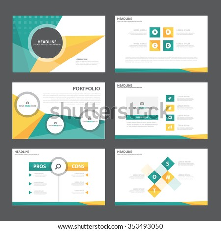 Green orange presentation template Infographic elements flat design set for brochure flyer leaflet marketing advertising - stock vector