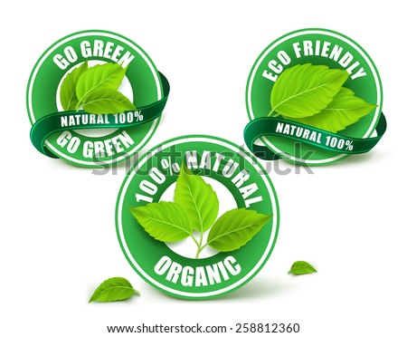 Green Organic Labels, Badge or Seal Set Isolated. Vector Illustration
