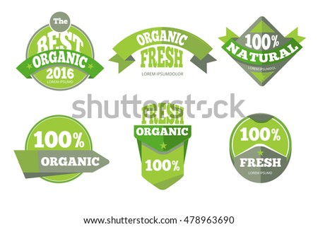 Green organic natural labels set. Element badge banner, vector illustration