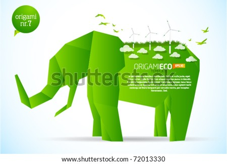 Green origami eco elephant nr. 7 - stock vector