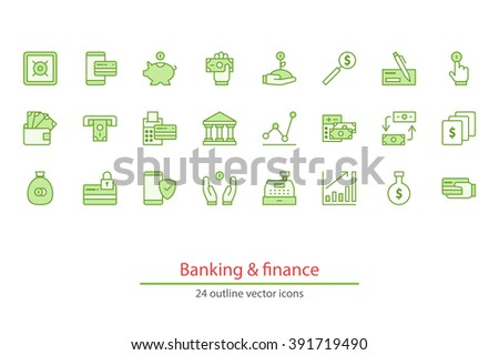 Green outline vector icons on a white background. Money, finance, payments. - stock vector
