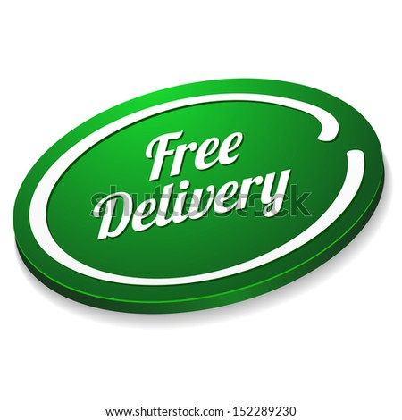 Green oval free delivery button - stock vector