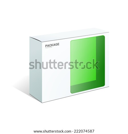 Green Package Box. For Software&Hardware, vector Illustration