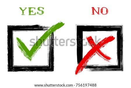 Green painted OK symbol and red X icon in square black check boxes, tick and cross signs, check marks design. YES and NO approval vector checkmarks, test or quiz choice signs, decision making options.