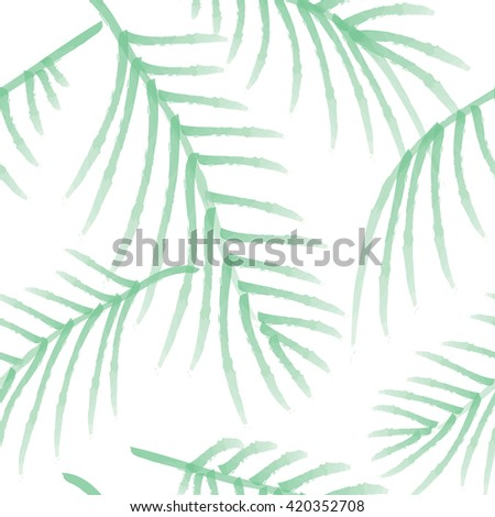 Green palm leaves seamless pattern, isolated on white background. - stock vector