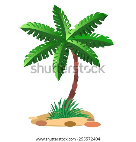 Green palm tree on a sandy soil and a neutral background - stock vector