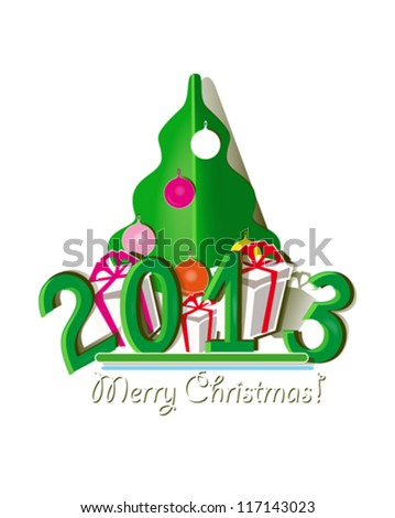 Green paper applique  of lettering  2013 with Christmas tree