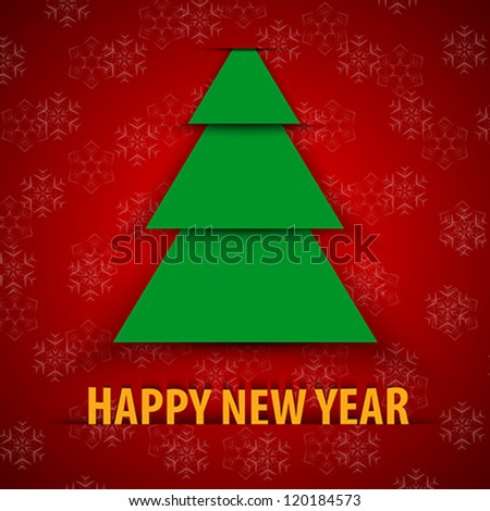 Green paper Christmas tree on red background. Happy New Year greeting card. Vector illustration