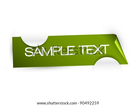 Green paper with sample text, that is held in white paper cuttings - stock vector