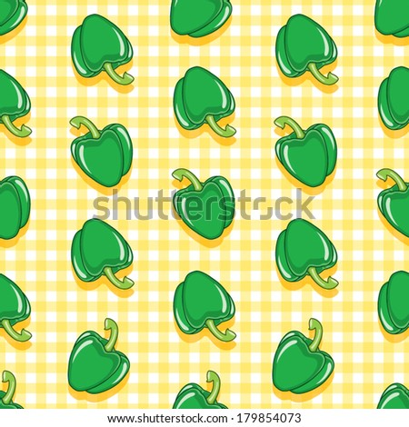 Green paprika on gingham background