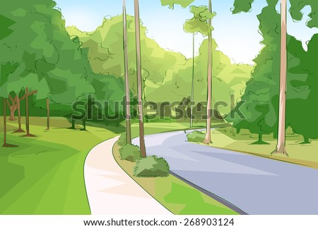 Green Park Forest Road Modern City Vector Illustration - stock vector