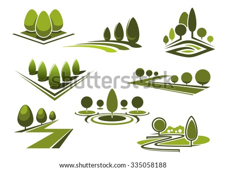 Green parks and gardens landscape icons with grass lawns, walking alleys and trimmed trees and bushes. Isolated on white - stock vector