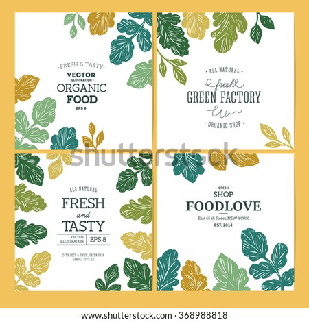 Green parsley design templates. Banner collection. Organic background. Vector illustration - stock vector