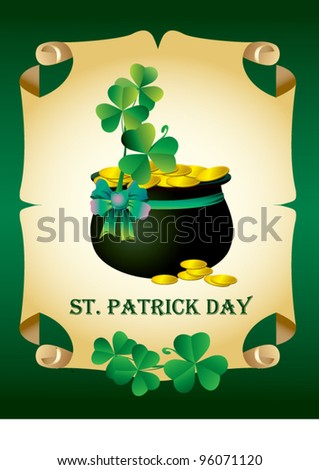 Green patrick card with pot and clover