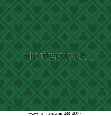 green pattern fabric poker table - stock vector