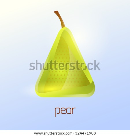 Green pear and healthy fruit design in triangular style for logo, menu, brochure, vector illustration template - stock vector