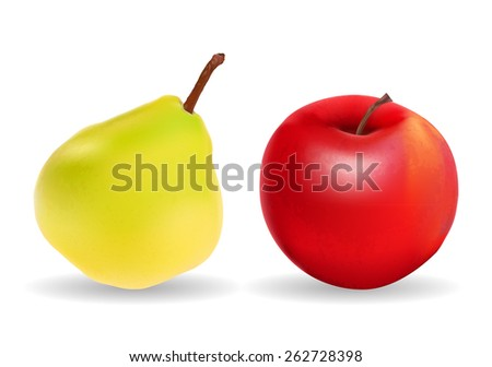 Green Pear and Red Apple Isolated on White Background Vector Illustration - stock vector