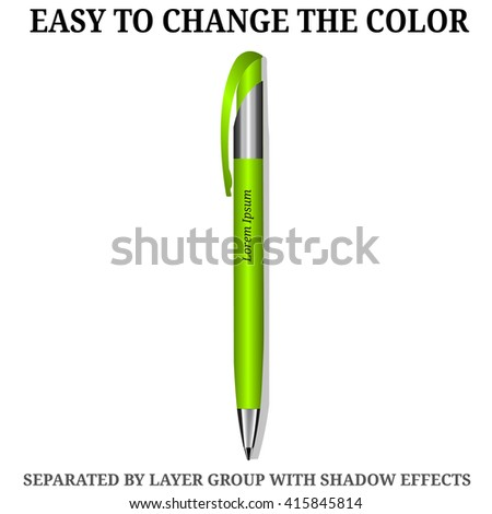 Green Pen. Detailed realistic vector pen icon. Illustration isolated from background. - stock vector