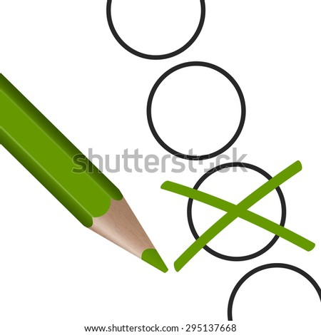 green pen with cross for election symbolism