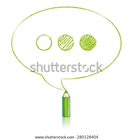 Green Pencil with Reflection Drawing Oval Speech Bubble containing Shaded Ellipsis on White Background - stock vector