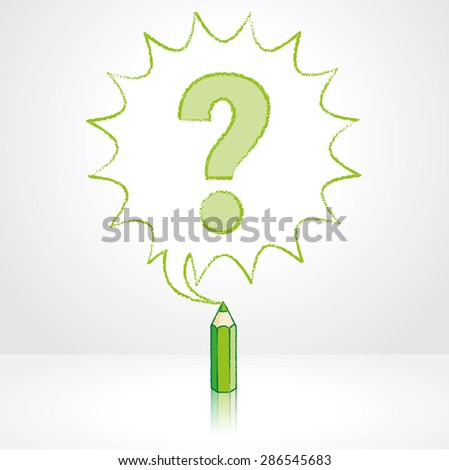 Green Pencil with Reflection Drawing Question Mark in Starburst Speech Bubble Grey Background
