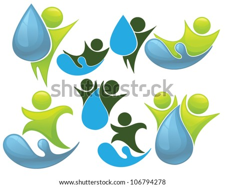 green people and water, vector collection of sighs, symbols and silhouettes - stock vector