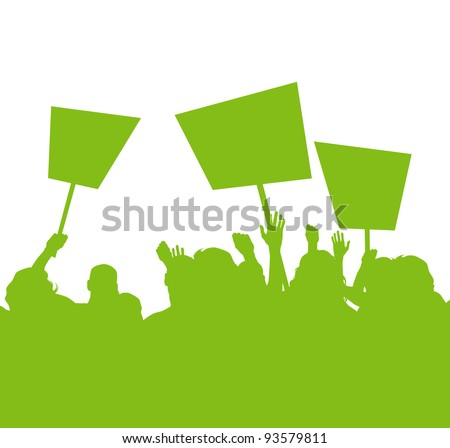 Green people protest, picket against pollution - stock vector