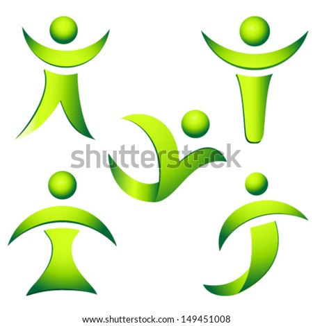green people vector collection  - stock vector