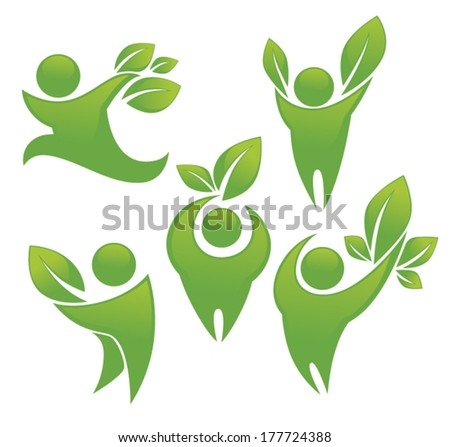 green people vector ecological collection - stock vector
