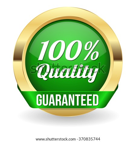 Green 100 percent quality button with gold border and ribbon - stock vector