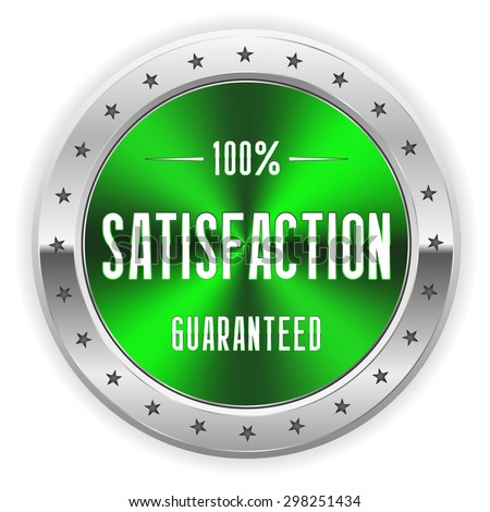Green 100 percent satisfaction badge with silver border - stock vector