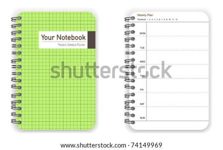 Green personal schedule planner notebook - stock vector