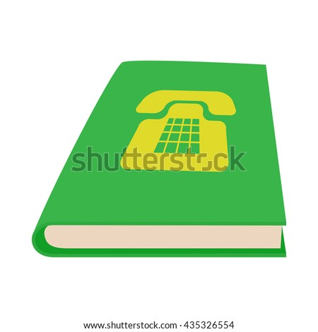 Green phone book icon, cartoon style