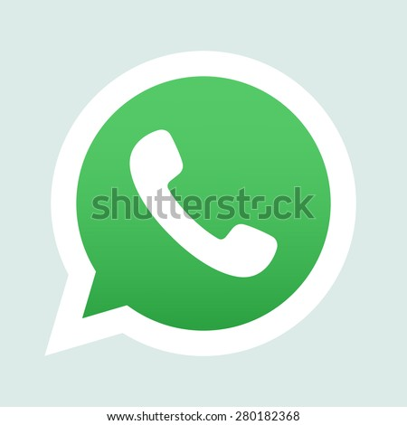 Green phone handset in speech bubble vector icon - stock vector