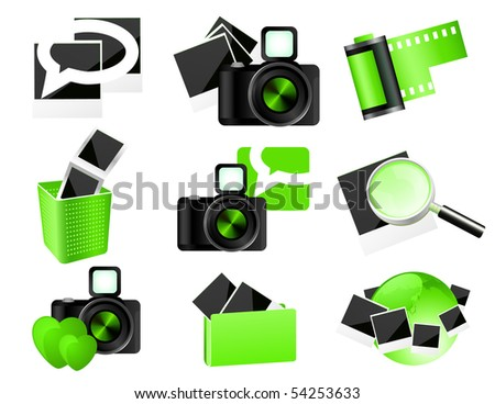 Green photo icons,  vector illustration - stock vector