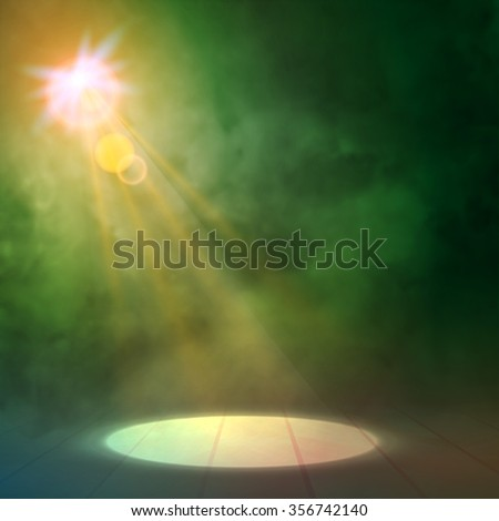 Green pink Great Premiere Show Background. Smoky vector stage shining with spotlight's Rays - stock vector