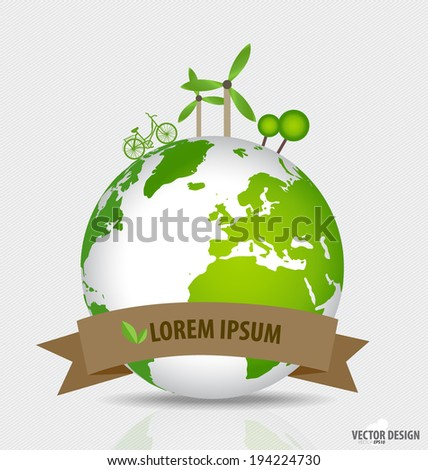 Green planet earth concept. Earth with environment symbols on earth. Vector illustration. - stock vector