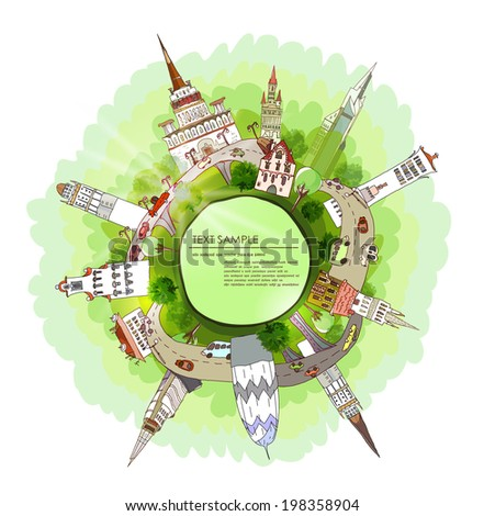 Green planet, environmental concept illustration, City