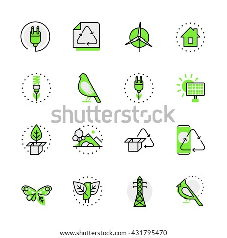 Green planet nature ecology circulation alternative source energy lineart flat vector icon set. Web site interface elements color line art mobile app aplication objects. Line-art icons collection. - stock vector