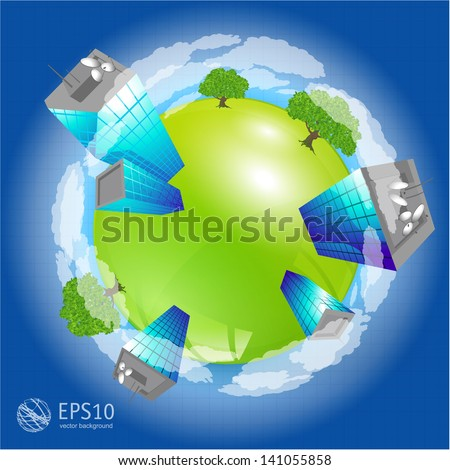 Green planet. Vector. - stock vector