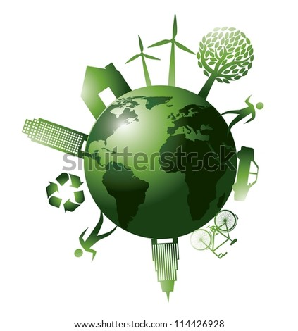 green planet with ecology icons isolated. vector illustration