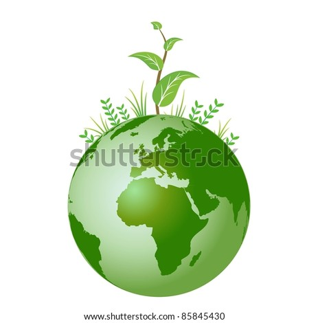 green plant on earth - stock vector