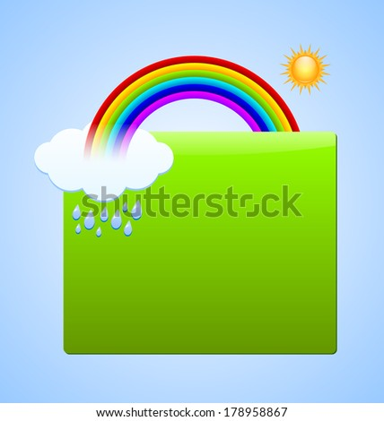 Green plaque for your custom text with rainbow, sun, cloud and rain drops