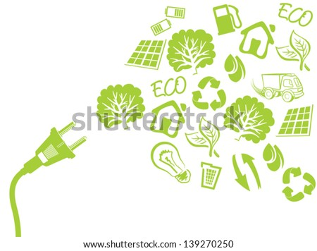 green plug - electric power concept - stock vector