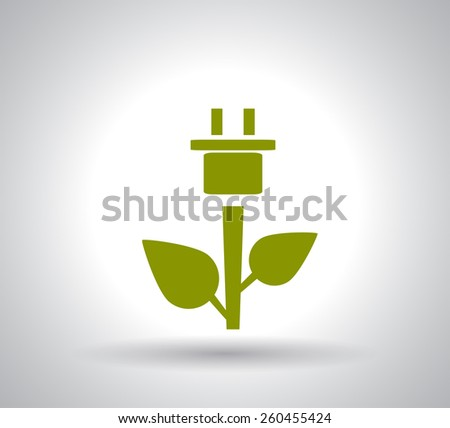 Green Plug Power Consumption - stock vector