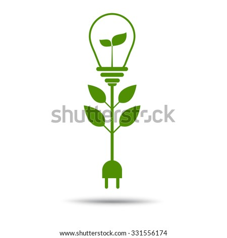 Green Plug Power Consumption light bulb concept - stock vector