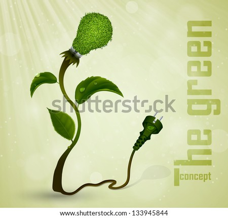 Green plug with energy-saving light bulb and grass. the concept of clean energy - stock vector